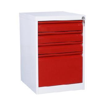 Тумба с разными ящиками (ящики красного цвета)