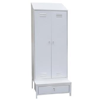 Шкаф для одежды двухстворчатый с наклонной крышей на подставке с ящиком