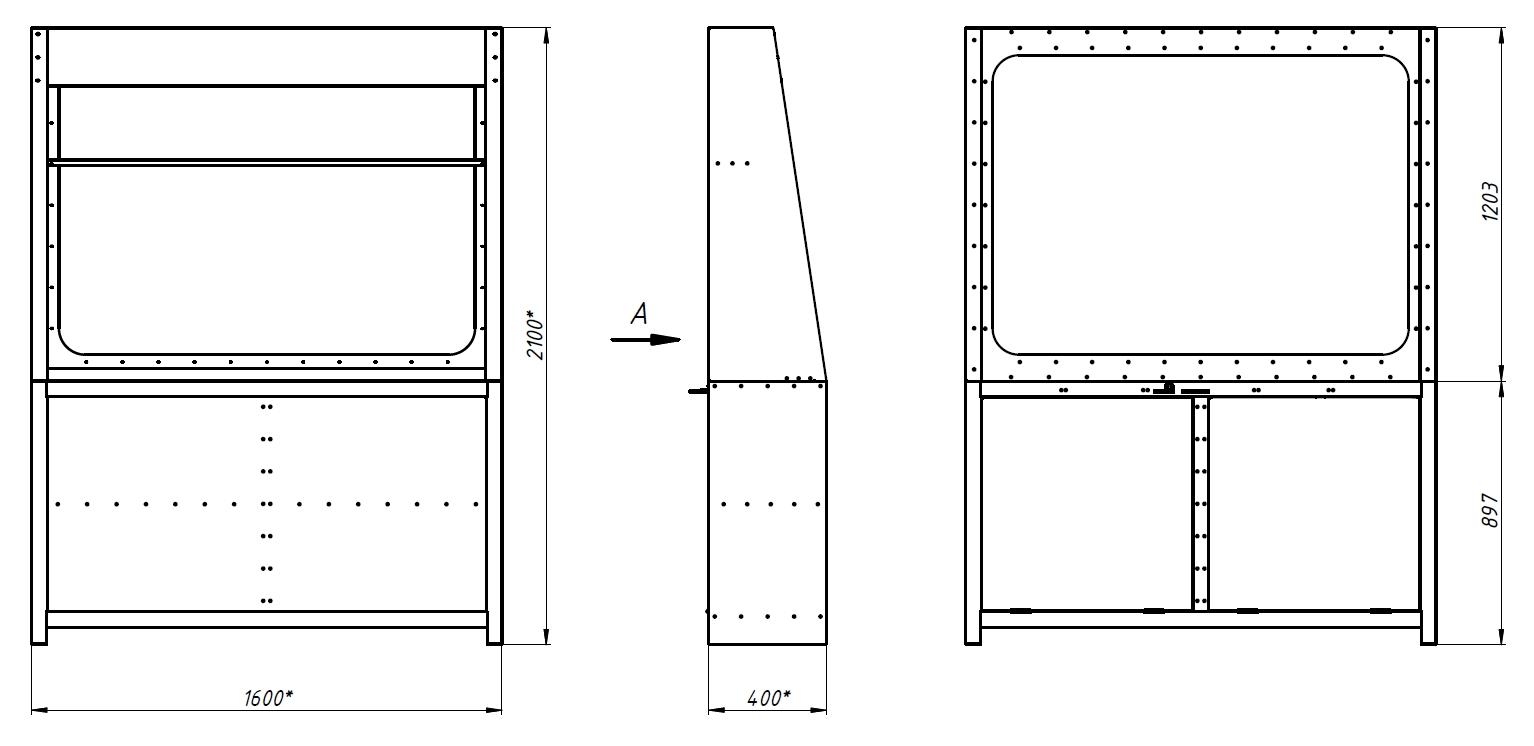 Габаритный чертеж пирамиды для оружия Титан-К