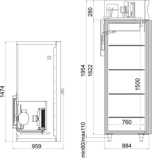 Габаритный чертеж шкафа холодильного