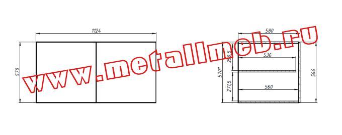 Антресоль  двухстворчатая  (для  шкафа  комбинированного  двухстворчатого, шкафа платяного двухстворчатого)