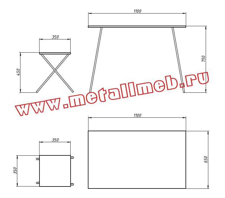 Комплект полевой складной мебели (стол раскладной и два табурета раскладных на ножках из дюралюминиевых труб)