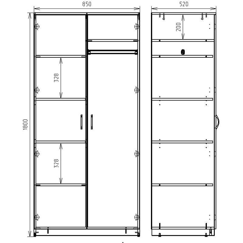 Чертеж шкафа для хранения одежды КРОН-ШК-02