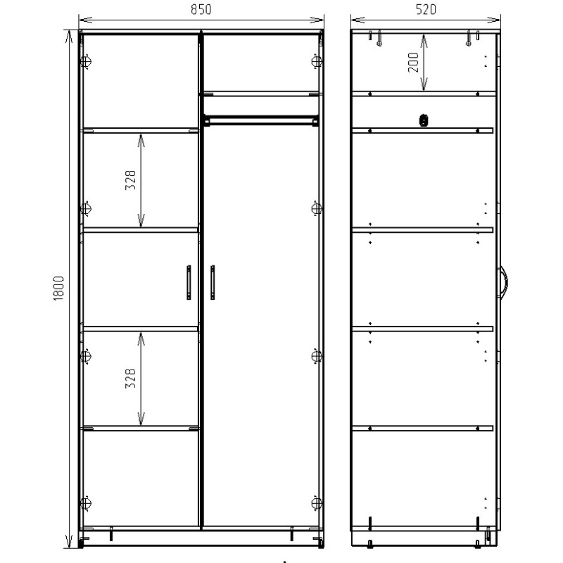 Чертеж шкафа для хранения одежды РМЗ-ШК-02