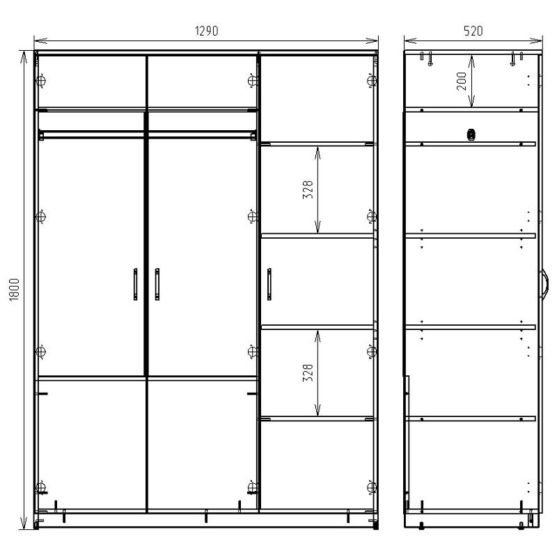 Чертеж шкафа для хранения одежды КРОН-ШК-03