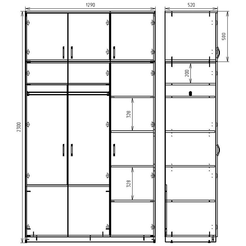 Чертеж шкафа с антресолью КРОН-ШК-03А