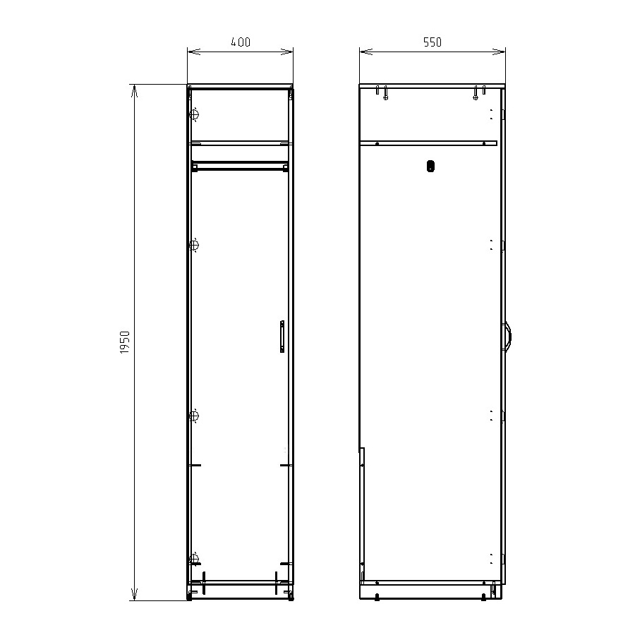 Чертеж офисного шкафа для одежды КРОН-ШД-01