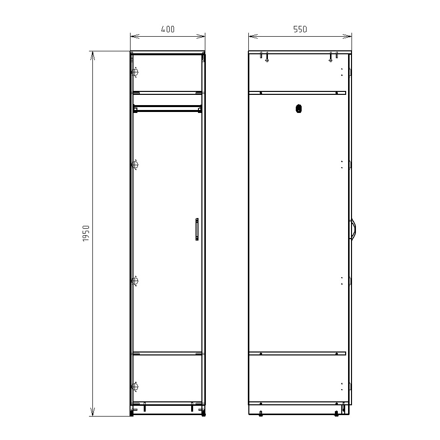 Чертеж офисного шкафа для одежды и обуви КРОН-ШД-02