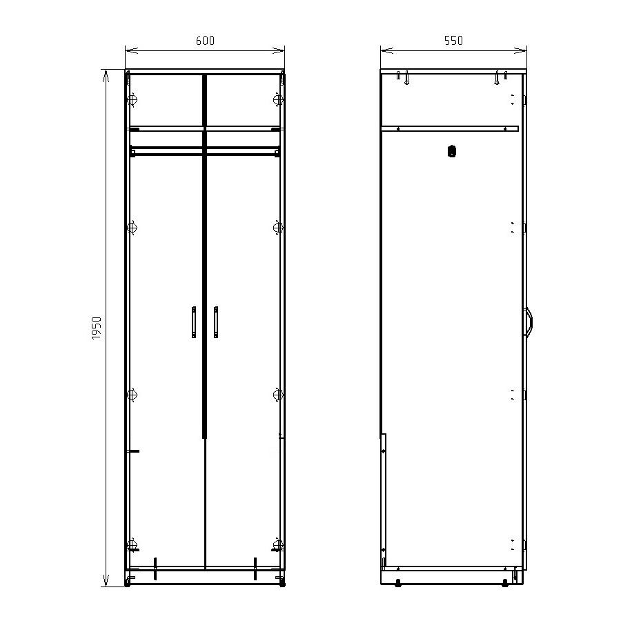 Чертеж офисного шкафа для одежды КРОН-ШД-03