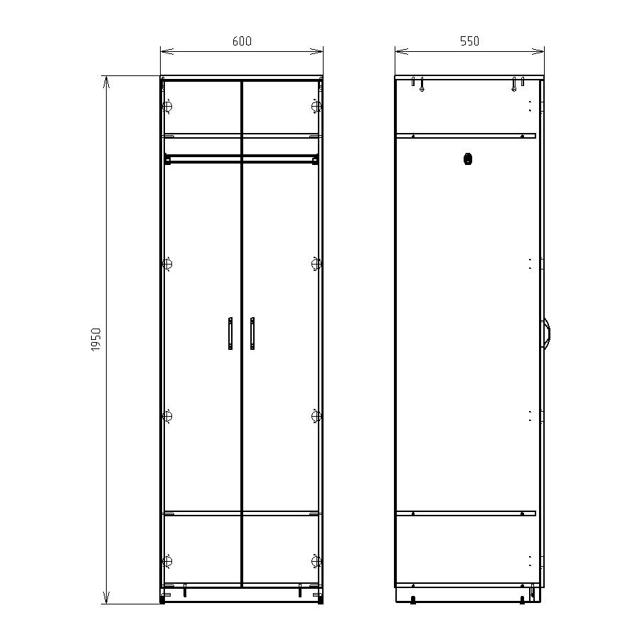 Чертеж офисного шкафа для одежды и обуви КРОН-ШД-04