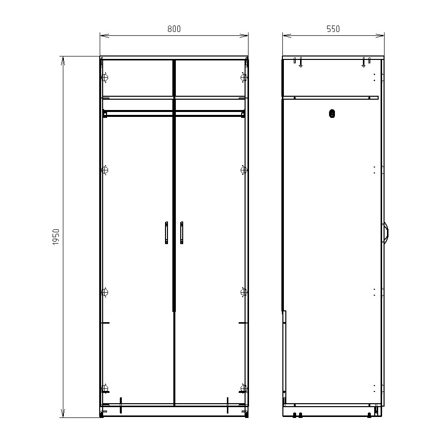Чертеж офисного шкафа для одежды КРОН-ШД-05