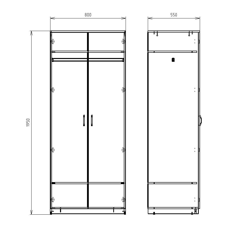 Чертеж офисного шкафа для одежды и обуви КРОН-ШД-06