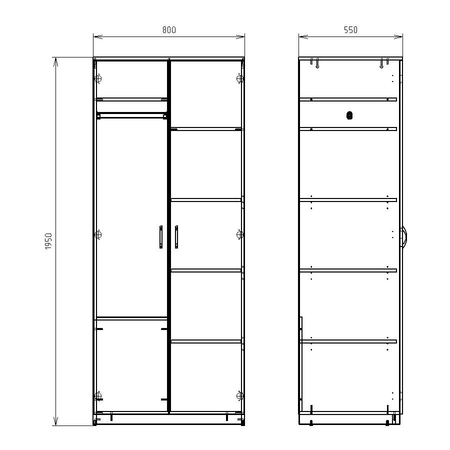 Чертеж комбинированного офисного шкафа КРОН-ШКД-01