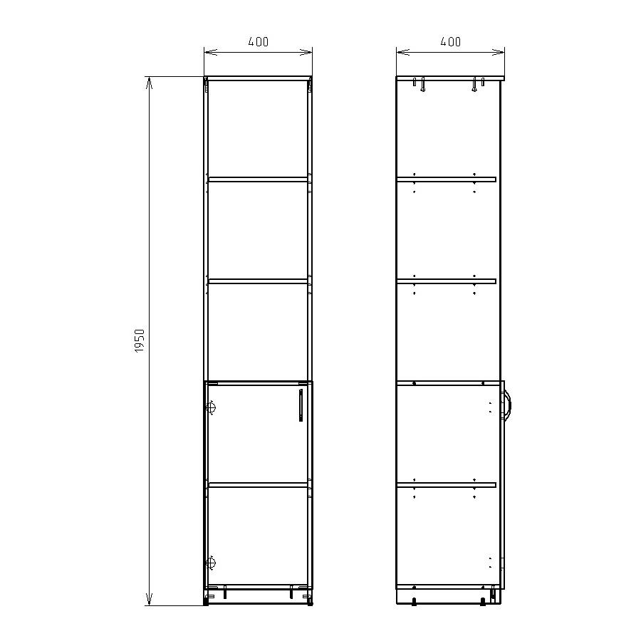 Чертеж офисного шкафа для документов КРОН-ШМ-02