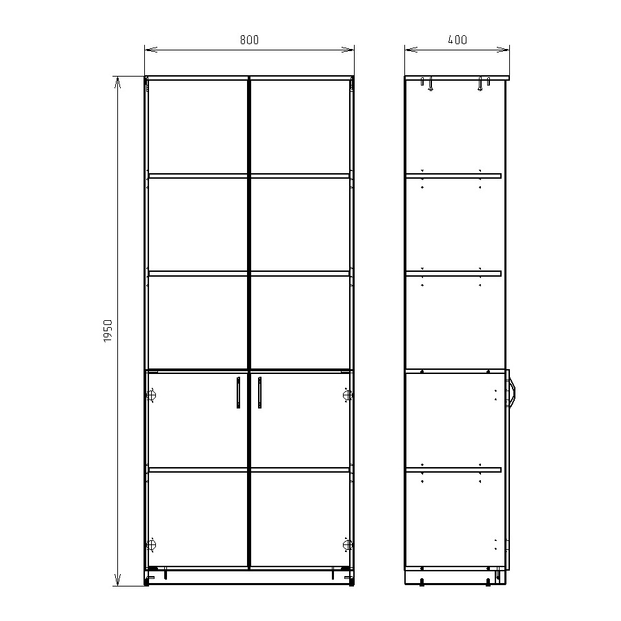 Чертеж офисного шкафа для документов КРОН-ШМ-14