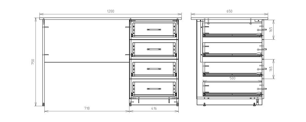 Чертеж однотумбового письменного стола КРОН-С-06