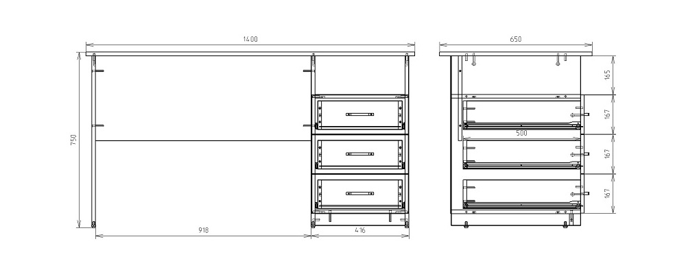 Чертеж однотумбового письменного стола КРОН-С-09