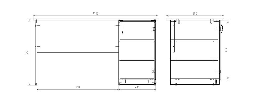 Чертеж однотумбового письменного стола КРОН-С-10