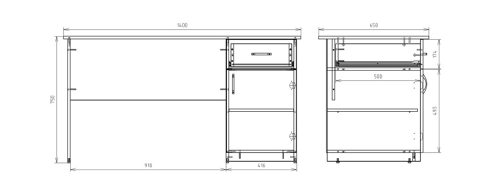 Чертеж однотумбового письменного стола КРОН-С-11