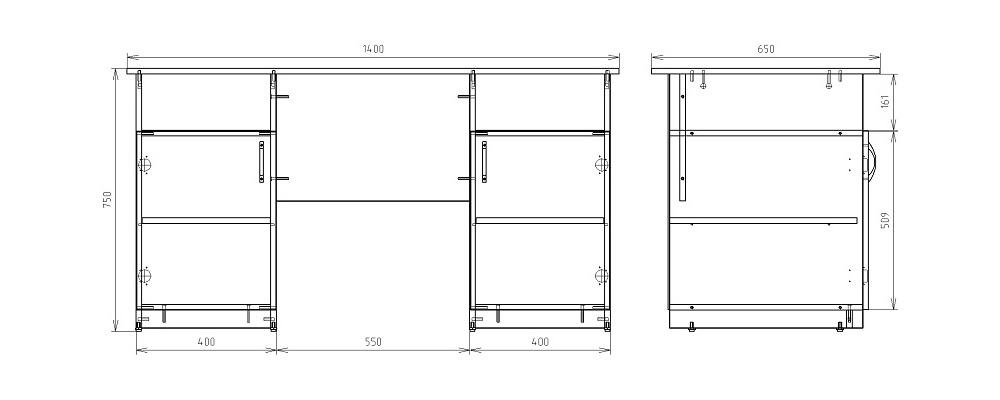 Чертеж офисного двухтумбового стола КРОН-СД-01