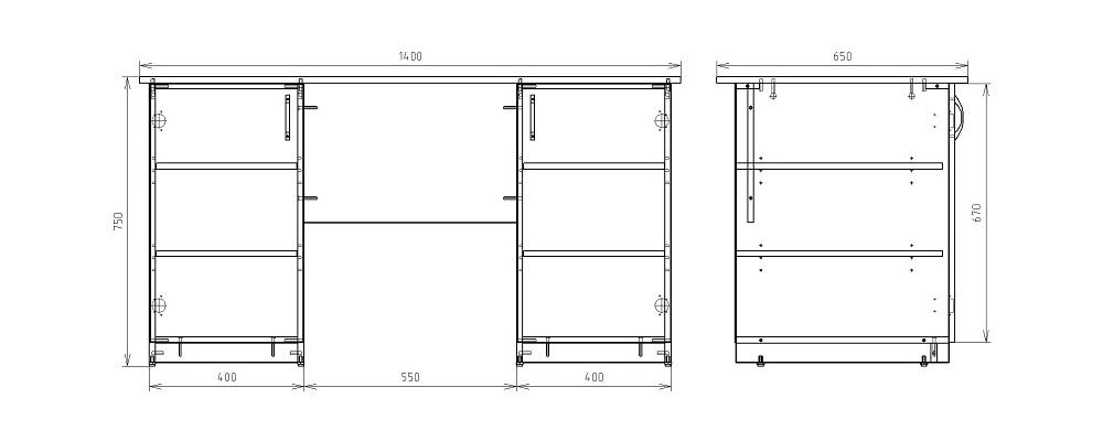 Чертеж офисного двухтумбового стола КРОН-СД-04