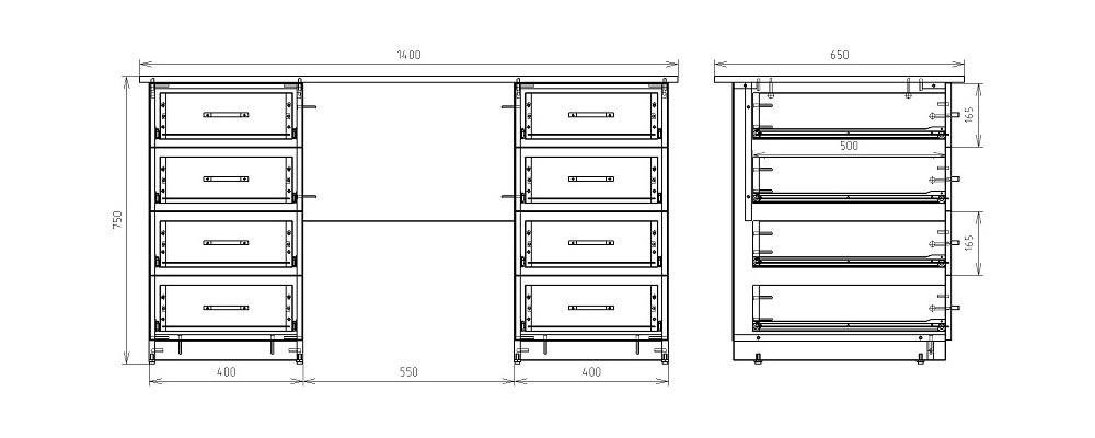 Чертеж офисного двухтумбового стола КРОН-СД-07