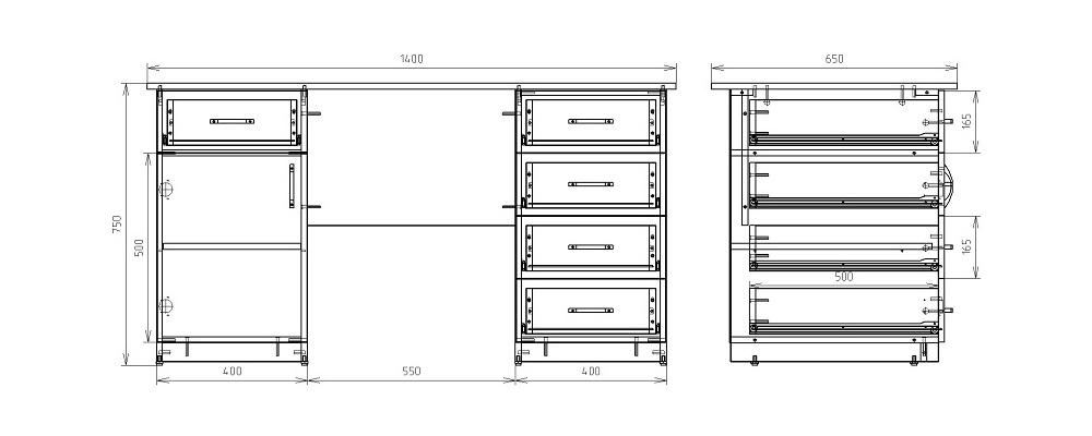 Чертеж офисного двухтумбового стола КРОН-СД-09