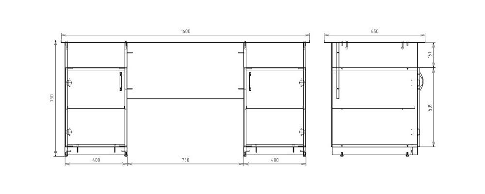 Чертеж офисного двухтумбового стола КРОН-СД-10