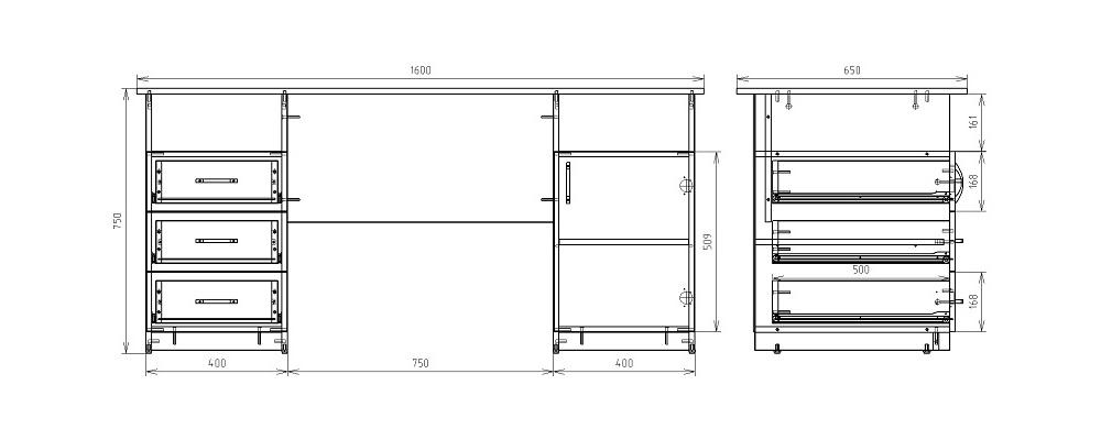Чертеж офисного двухтумбового стола КРОН-СД-11
