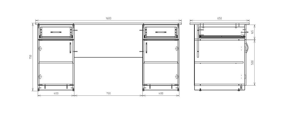 Чертеж офисного двухтумбового стола КРОН-СД-14