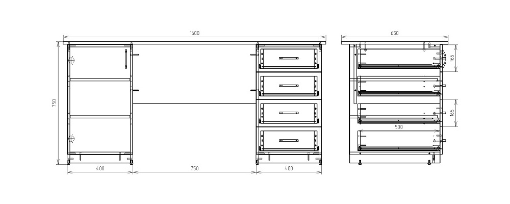Чертеж офисного двухтумбового стола КРОН-СД-17