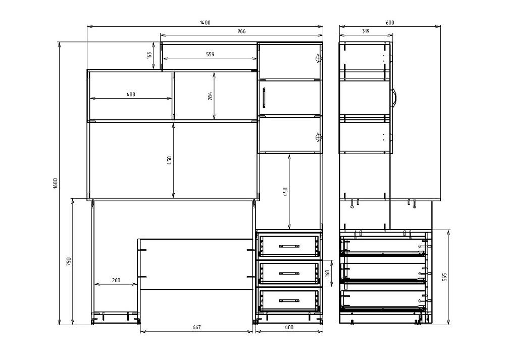 Чертеж офисного компьютерного стола КРОН-СК-09