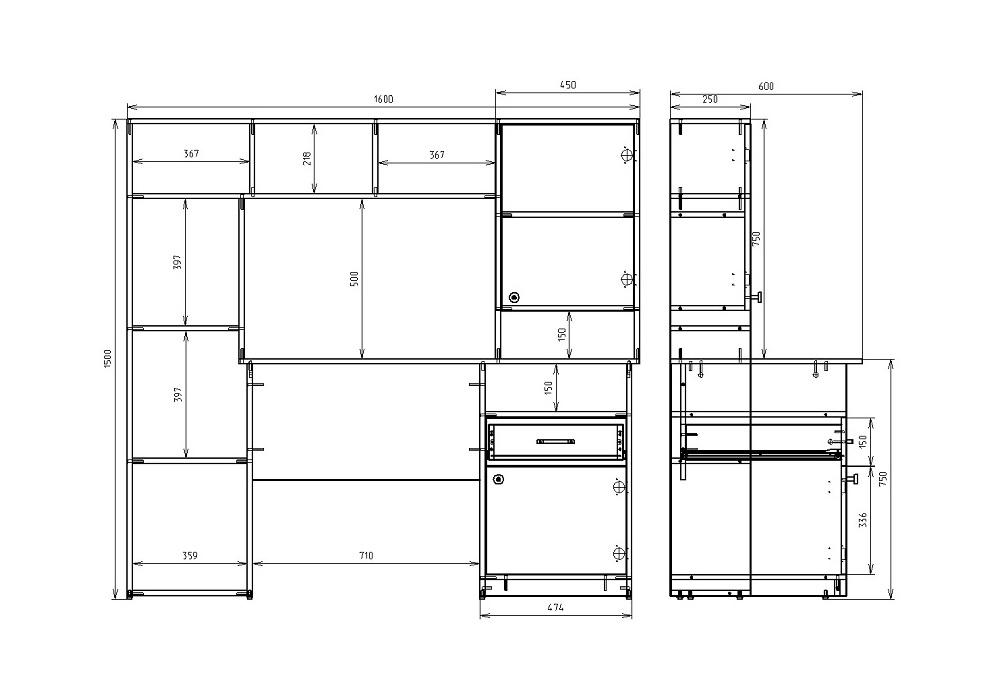 Чертеж офисного компьютерного стола КРОН-СК-11