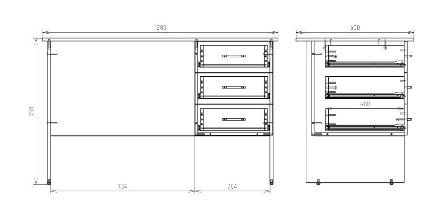 Чертеж стола с навесной тумбой КРОН-СО-03