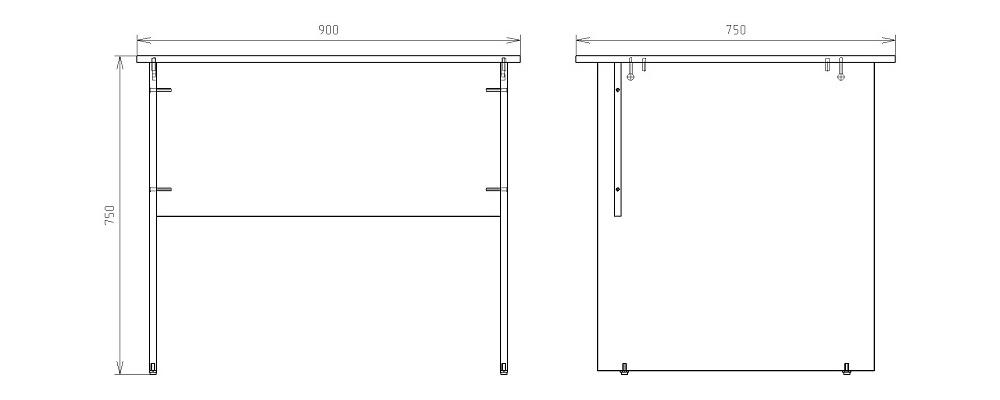 Чертеж офисного письменного стола КРОН-СП-03