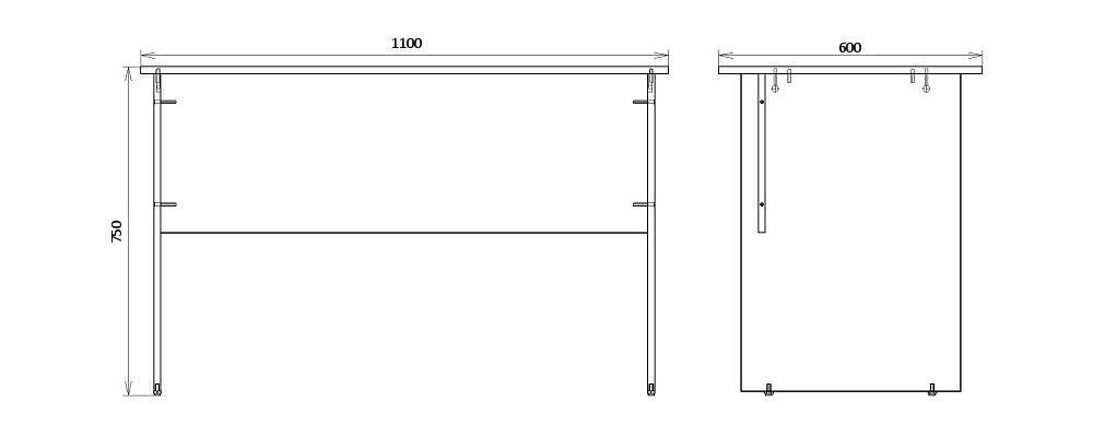 Чертеж письменного стола для офиса КРОН-СП-04