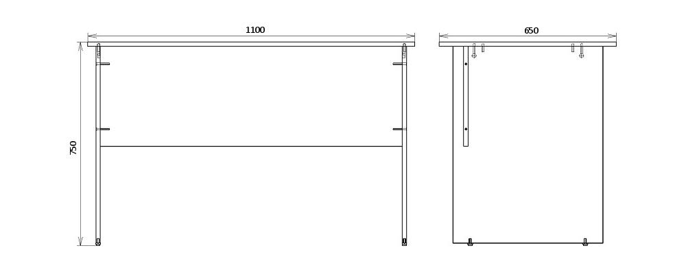 Чертеж письменного стола для офиса КРОН-СП-05
