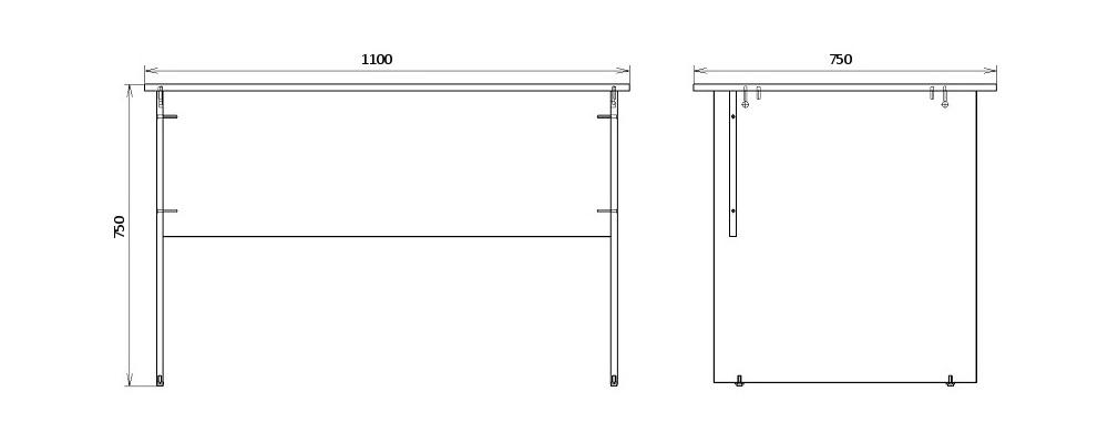 Чертеж письменного стола для офиса КРОН-СП-06