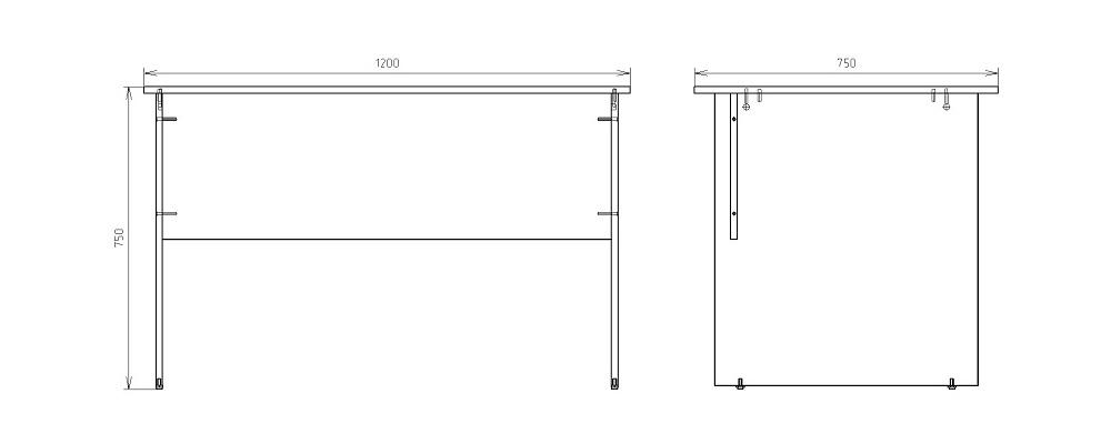 Чертеж офисного письменного стола КРОН-СП-09