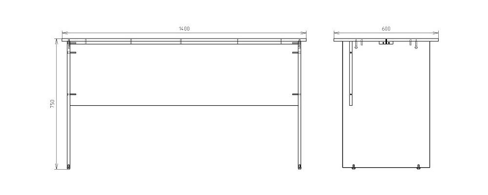 Чертеж офисного письменного стола КРОН-СП-10