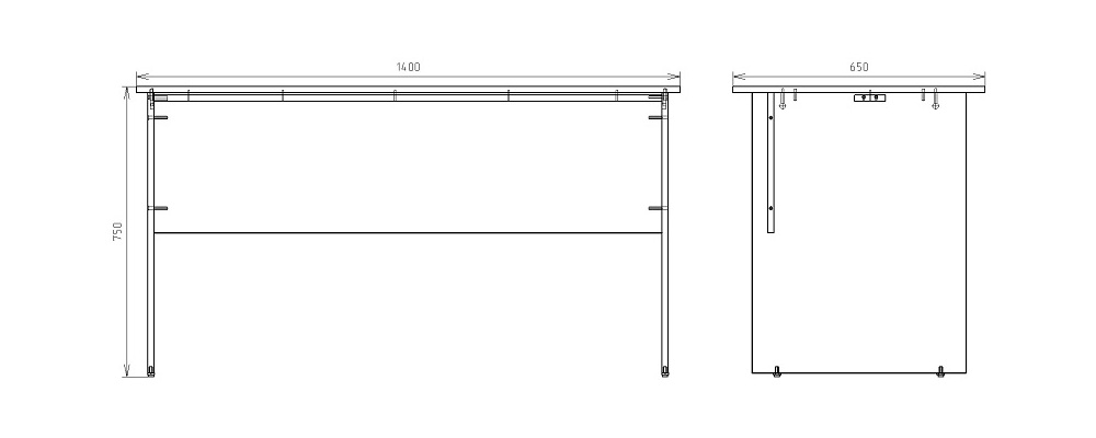 Чертеж офисного письменного стола КРОН-СП-11