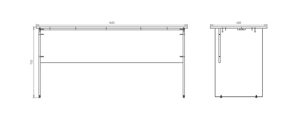 Чертеж письменного стола для работы КРОН-СП-13