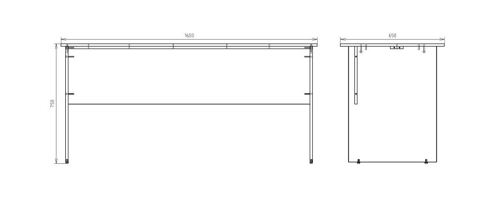 Чертеж письменного стола для работы КРОН-СП-14