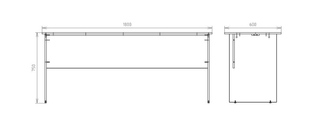 Чертеж рабочего стола для офиса КРОН-СП-16