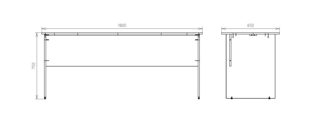 Чертеж рабочего стола для офиса КРОН-СП-17