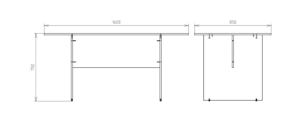 Чертеж стола для заседаний КРОН-СП-19