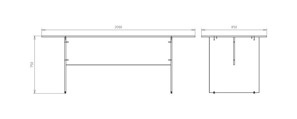 Чертеж стола для заседаний КРОН-СП-21