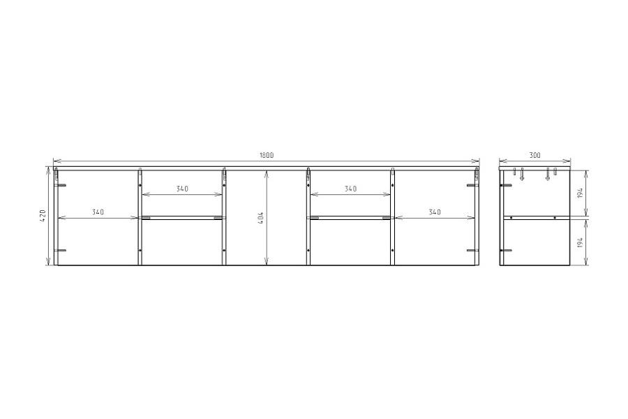Чертеж надстройки для офисного стола КРОН-ПС-04