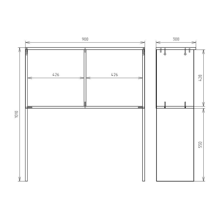Чертеж надстройки для офисного стола КРОН-ПС-05