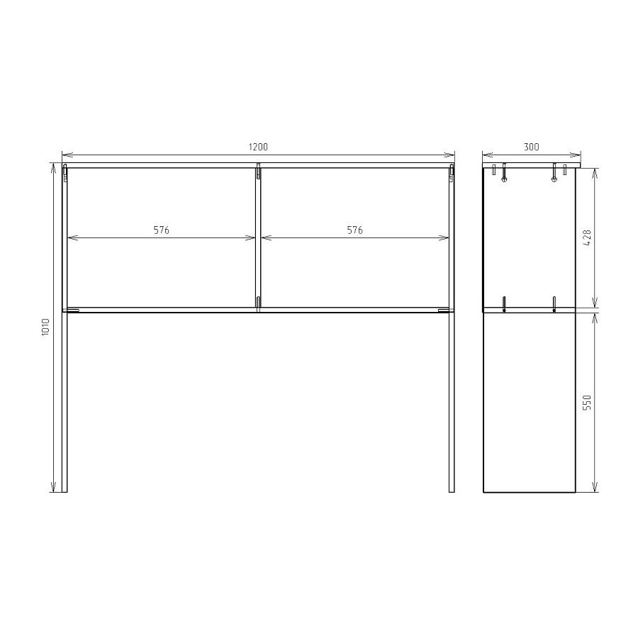 Чертеж надстройки для офисного стола КРОН-ПС-07